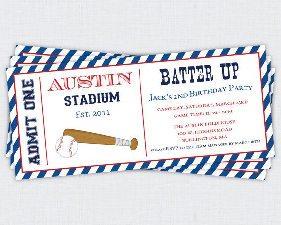 Baseball Birthday Party - Batter Up Collection Printable Invitation
