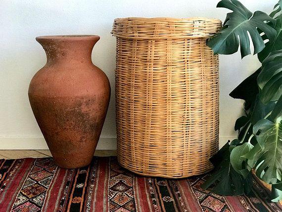 Large Linen Basket Lidded Rattan Hamper Basket Wicker Laundry