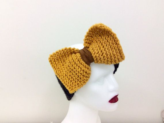 100% Pure Alpaca Big Bow Headband, Earwarmer