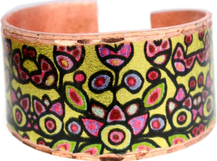 'Floral on Yellow' Artist Collection Copper Ring