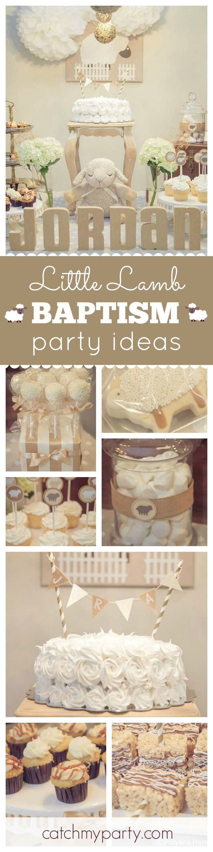 Check out this adorable Little Lamb themed Baptism celebration! The lamb cookies are too cute! See more party ideas at CatchMyParty.com