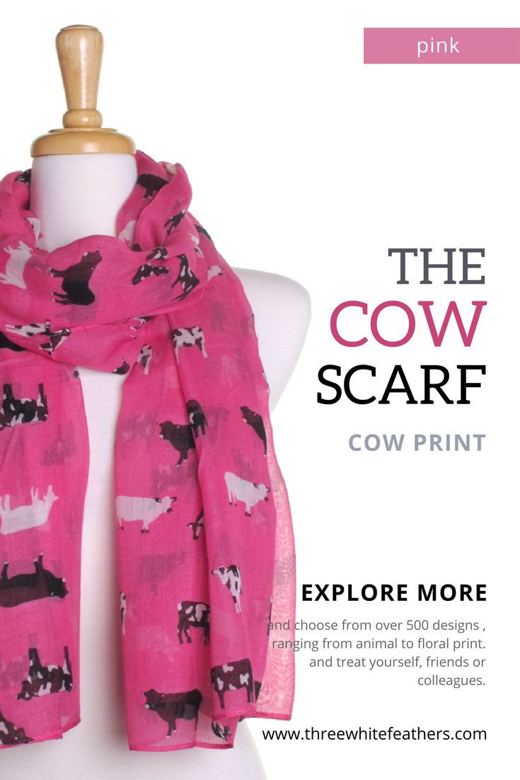 Hot pink scarf with adorable cow print.