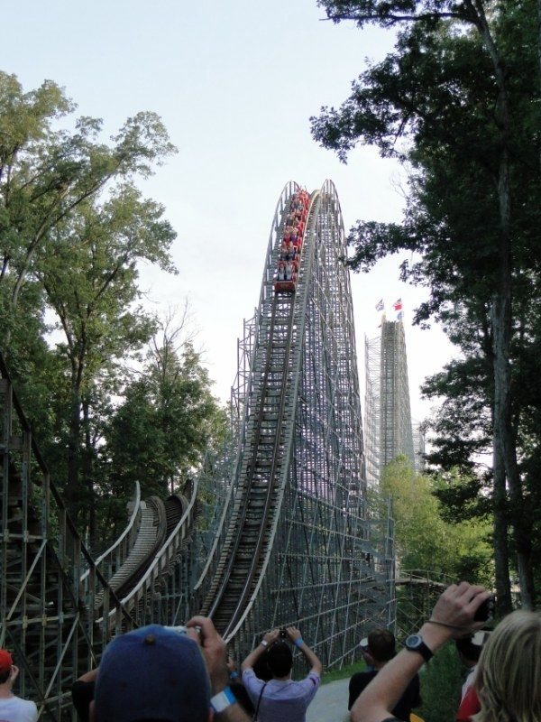 Huge second hill on Voyage, Holiday World, Indiana - a very tall Midwestern woodie that rides a little rough nowadays