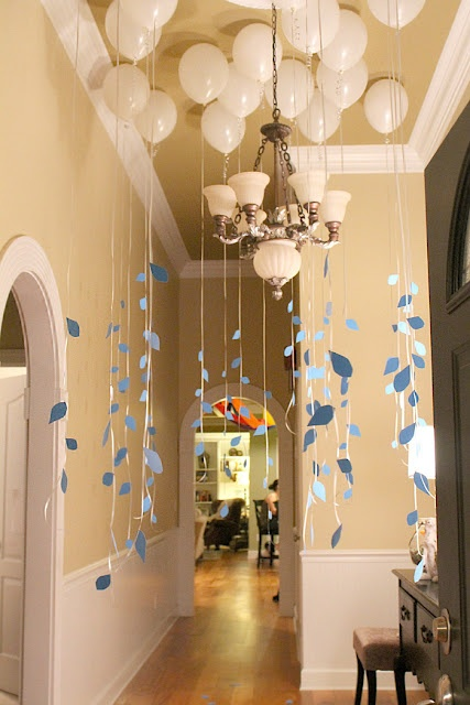 Inventive party decorating a mixture of white and silver for Balloon cloud decoration