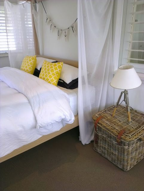 Beach House Bedroom - bunting for a head board decoration - and add sea-themed pillows
