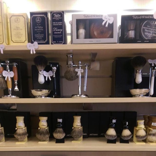 The Artemis and Taylor of Old Bond Street ranges of Shaving paraphernalia at Bow Fashion Accessories in Falmouth. The art of the traditional shave lives on in Cornwall.