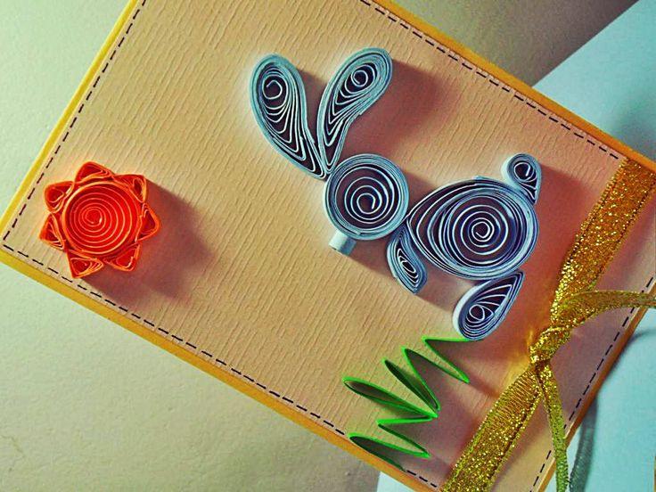 Easter, rabbit, Easter Card, Páscoa, Coelhinho da Páscoa, Cartão para Páscoa, Quilling