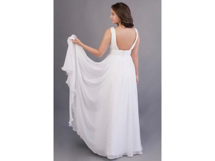Dlouhé svatební šaty s hlubším výstřihem šaty mají bohatě skládaný živůtek dominantní je hluboký výstřih a široký pásek všitá podprsenka a zip na zadní straně délka šatů 155 cm (od ramene k přednímu lemu)