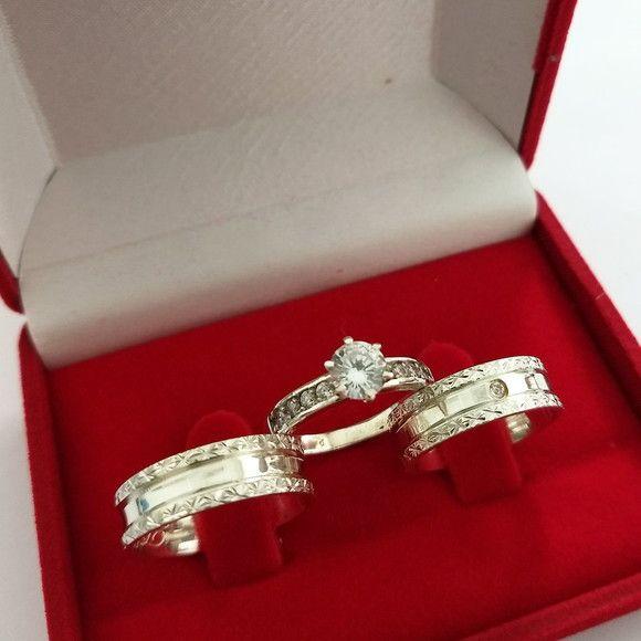 6256f6423e3f5 Compre Conjunto Par de Aliança 6mm Bordas Diamantadas com Anel Soli no Elo7  por R