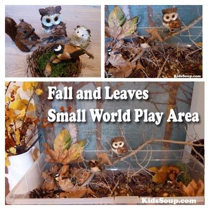 Our small world play area presents an environment in which your children can develop their creativity and imaginations as they explore, pretend, and play with a variety of nature materials and small toy animals.