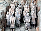This is a sample of the Chinese Terracotta Army, a collection of more than 8000 soldiers and all their equipment buried in tribute to the Emperor Q'in in 246BC. The figures are lifesize and contain all the weapons and equipment they would need. This is as large as a modern military division and every soldier has a unique face and features. The weapons are real and many are as pristine as the day they were made, covered in Chromium, something not used in the West til the 18th century…