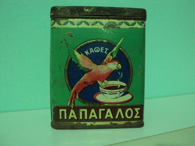 RARE Vintage '50s Greek Parrot Coffee Litho Tin Box Papagalos Loumidi | eBay