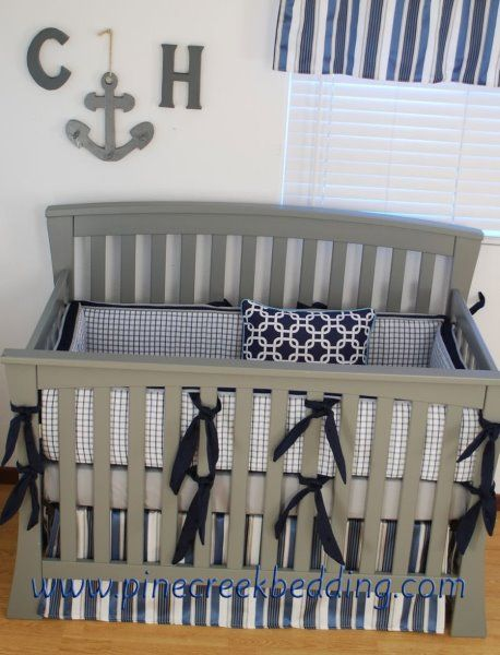 Navy And Grey Crib Bedding Shows What Patterns To Mix If I Sew My