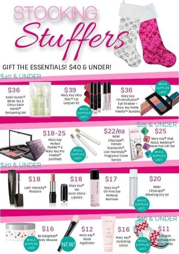 Grab these price conscious gifts this holiday season that every lady on your gift list will love, while supplies last!  #marykayholiday2019 #giftgivingideas #stockingstuffers #giftsforeveryoccasion #marykay #mymklife #mpratolamarykay