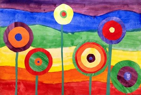 Third grade began this lesson learning about the Austrian artist Hundertwasser. They learned color theory that when you mix two primary colors it makes the secondary colors - purple, green, and orange. They painted the background first, and then six pieces of paper with the primary and secondary colors. Then using lids, and templates they traced different sizes of circles, cut them out and glued them together, layering the colors.