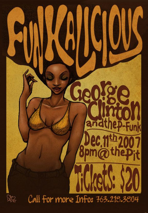 Funkadelic Glasgow UK The Pit 12-11-2007 Concert_Poster_by_Aerlynn