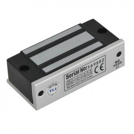 Mini electromagnet de forta aplicat YM-60. Electromagnetul aplicabil YM-60 este folosit in sistemele de control acces si se monteaza aplicat la usi de dulapuri, vitrine, tablouri electrice.  Retentie: 60kgf Consum: 100mA/12Vcc Marime: 80x33x20 mm Marime contraplaca: 70x32x9 mm Alte caracteristici: suport L inclus; deschis la intreruperea alimentarii (fail-safe)