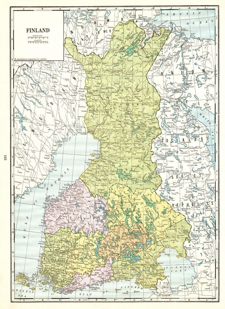 1937 Antique Finland Map Uncommon Vintage Map Of Finland Gallery Wall Art 5521 Karta