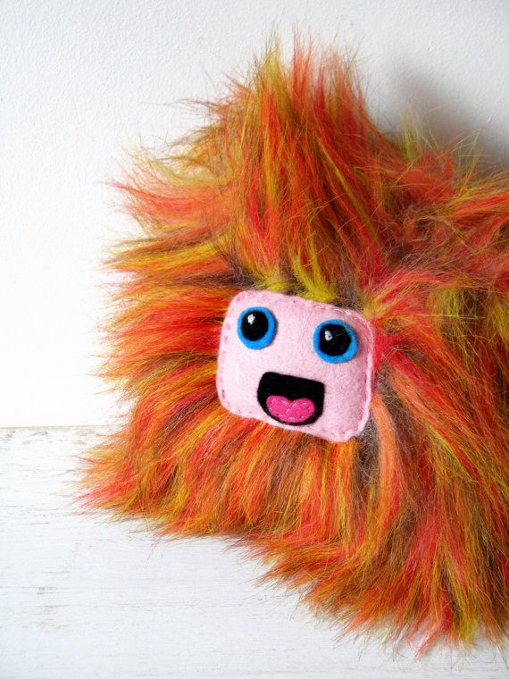 Furry monster orange red purple plush doll lion by coccinellina, $25.00