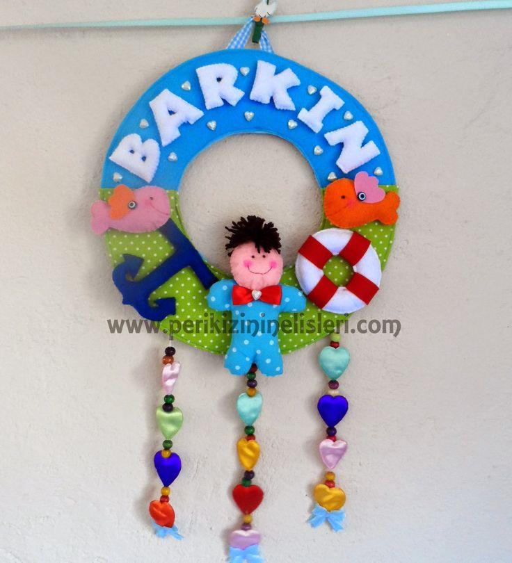peri kızının el işleri: Erkek bebek kapı süsü