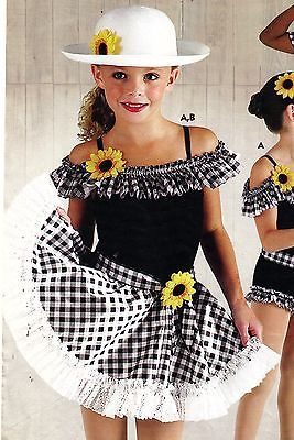 NWT-shorty-unitard-country-western-dance-costume-Daisy-Mae-ruffled-legline-child