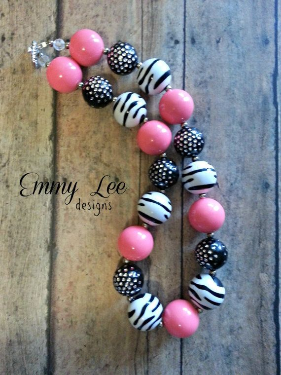 Hot Pink Zebra Chunky Bubble Gum Necklace