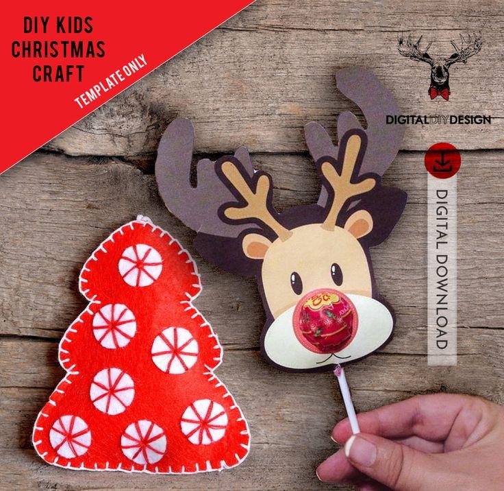 Christmas Craft - Printable template    DIY - Kids gift tag Instant Download   Printable lollipop Chupa Chup Reindeer Gift by DigitalDIYDesign on Etsy