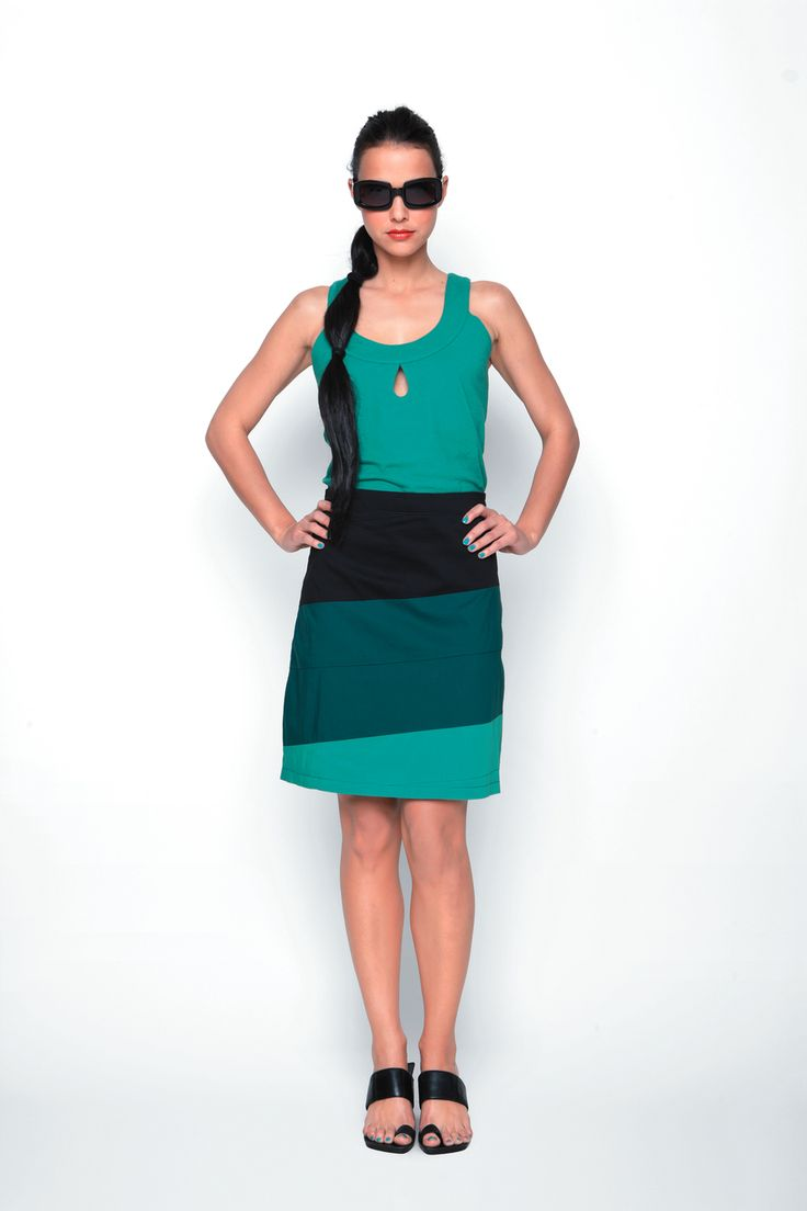 LUZ-029 SKUNKFUNK women's skirt season: spring summer 13 fabric content: 68% organic cotton + 29% nylon + 3% elastane color: grey,green,red price: $109.00