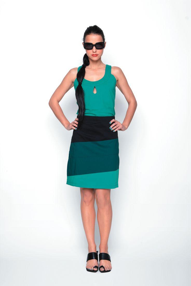 LUZ-029 SKUNKFUNK women's skirt season: spring summer 13 fabric content: 68% organic cotton + 29% nylon + 3% elastane color: grey,green,red price: $109.00