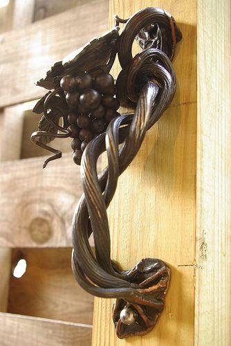 Grapes and vines door handle