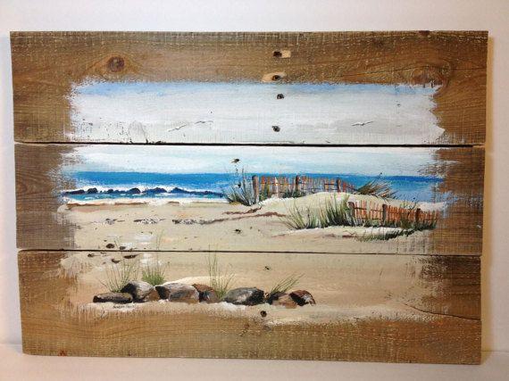 Ocean Pallet Painting, Pallet Art, Distressed Wood Art, Rustic Wall Decor