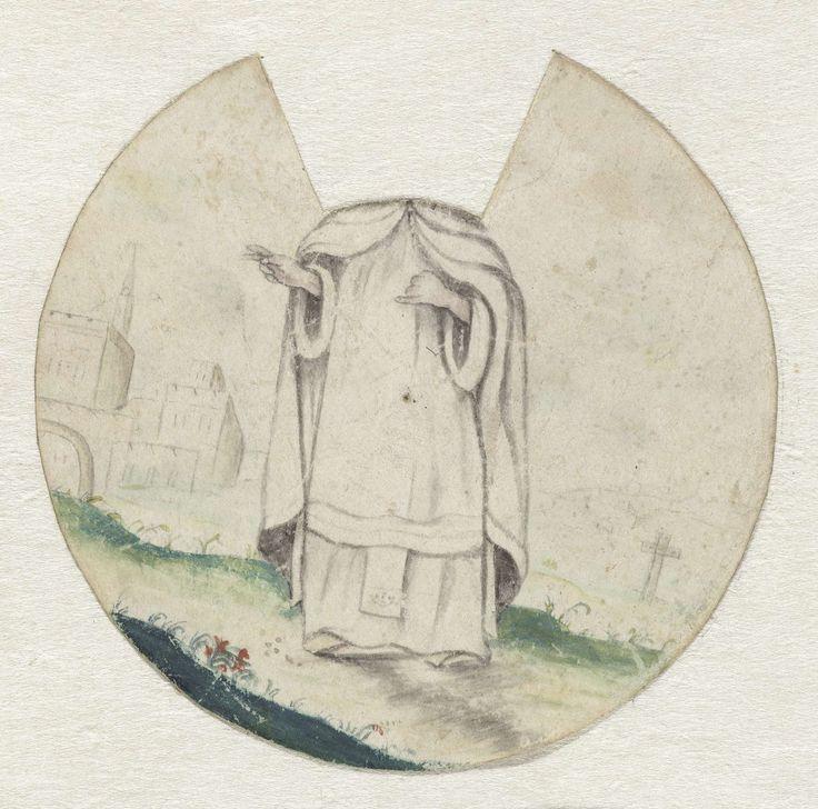 Anonymous | Staande katholieke geestelijke die een zegenend gebaar maakt, zonder hoofd, Anonymous, 1600 - 1699 | Staande katholieke geestelijke in een witte pij. Hij maakt een zegenend gebaar. Van het ronde blad is een stuk uitgesneden waardoor het hoofd ontbreekt. De tekening is een onderdeel van een combinatie van twee schijven, het andere draaischijf (met verschillende hoofden) ontbreekt. Anti-roomse satire voorstelling.