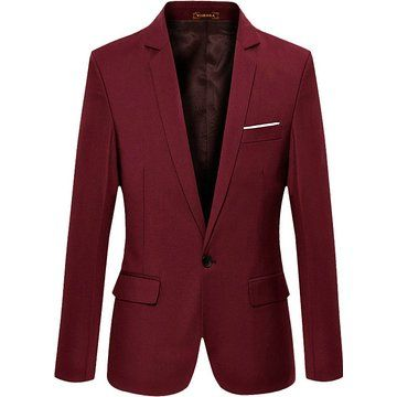 VOBAGA Men's Slim Fit Stylish Casual One Button Suit Coat Jacket Business Blazers