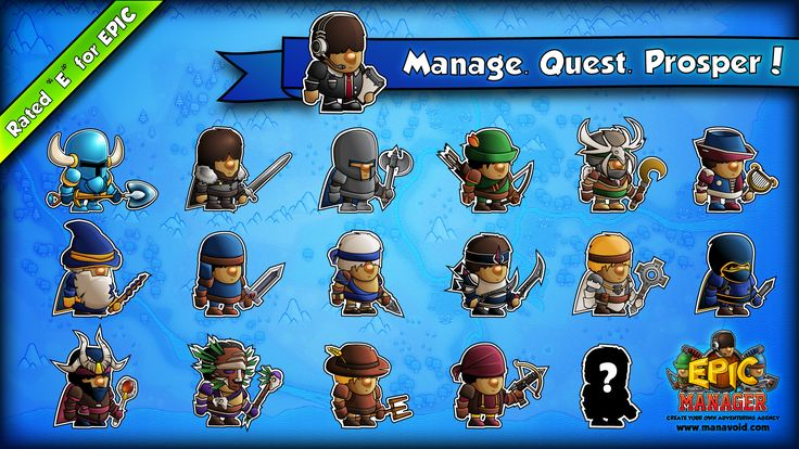 """Epic Manager Characters // Epic Manager - Create Your Own Adventuring Agency // Rated """"E"""" for EPIC! // www.manavoid.com"""