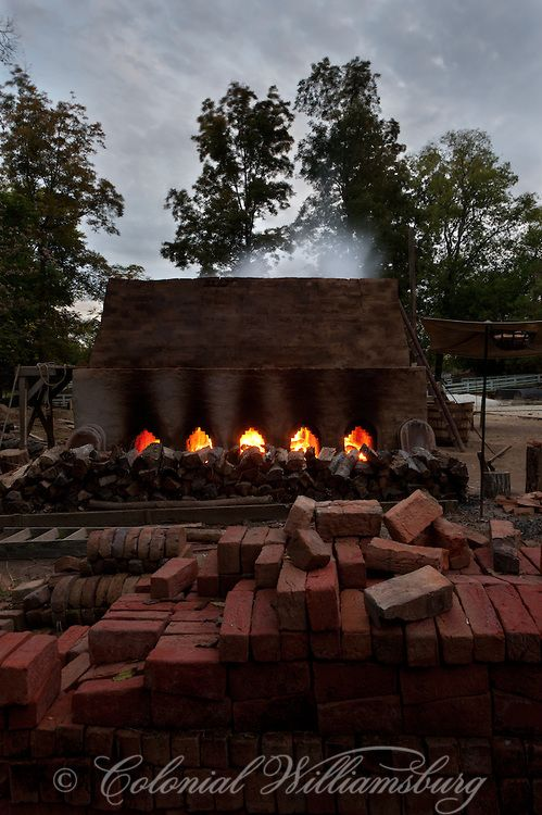 Firing the brick kiln at dusk. Colonial Williamsburg's Historic Area. Williamsburg, Virginia Photo by David M. Doody