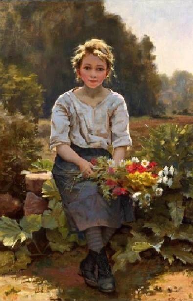 The Flower Girl ~ Cesar Pattein 1850-1931