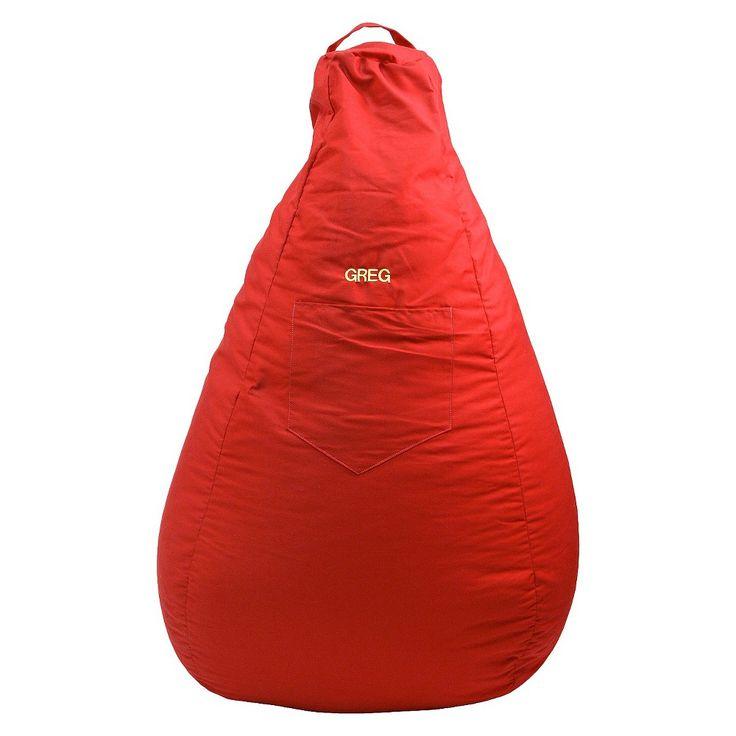 "Gold Medal Cotton ""Monogram"" Dorm/Gamer Tear Drop Denim Look Bean Bag with Pocket - Red, Really Red"