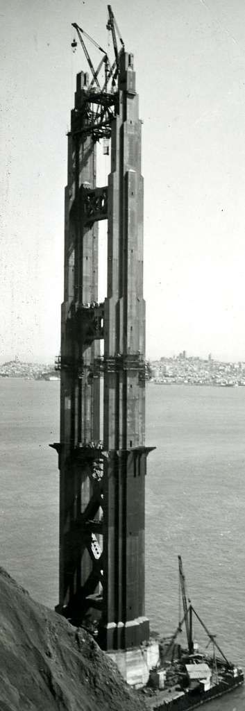 This photo shows the tower on the Marin County side, with the San Francisco skyline in the background. Courtesy of Standard Oil Co.