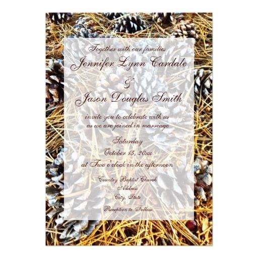 Rustic Country Pine Cones Camo Wedding Invitations