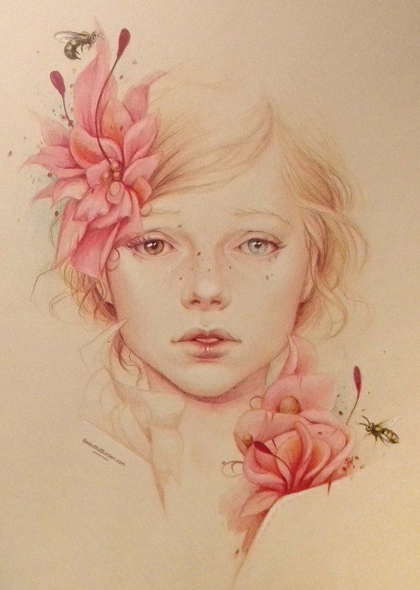 Spring - American artist Jennifer Healy started her pencil art in January of 2013. And she created adorable colorful and gorgeous portraits with colored pencils on the used light blue stonehenge paper.
