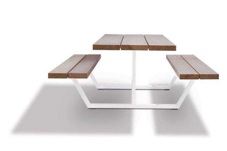 cassecroute picnic table iroko wood, steel frames #design #picnictable #garden #furniture