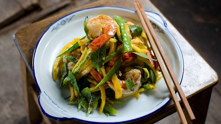 Say hello to summer with Luke Nguyen's warm #mango and #prawn salad. Watch the video recipe.