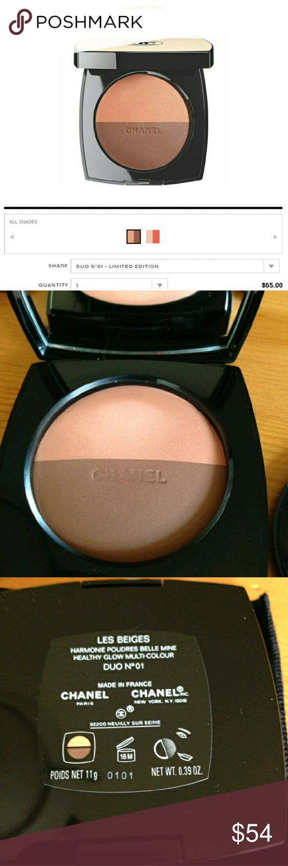 Chanel Les Beiges Healthy Glow Multi Color LE In Duo No 01  Swatched 1x barely, basically brand new, comes with velvet pouch and original brush   NO BOX, EVEN THOUGH SHOWN IN LAST PIC, I NO LONGER HAVE IT  Authentic. Guaranteed   Gorgeous set of colors, but too dark for me, and top color slightly shimmery  Absolutely stunning, my camera doesn't do it justice   Paid $65 plus tax    Check out my items for more high end beauty brands   Top rated seller with glowing reviews, shop with confidence…