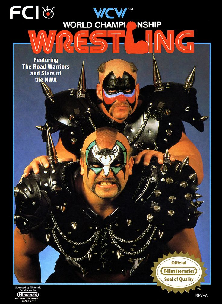 WCW - World Championship Wrestling (1990) for the Nintendo Entertainment System (NES). The box art features Hawk & Animal -- The Road Warriors.