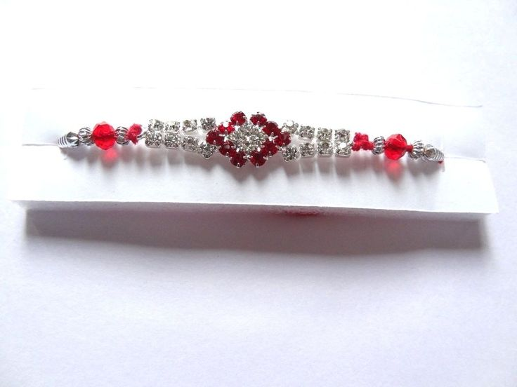 Handmade Designer Bracelete Red Stone Thread Rakhi Festival For Raksha Bandhan #IndianBrand #Friendship