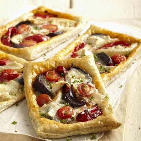 Roasted vegetables and goat's cheese puff pastry tarts. www.handbag.com
