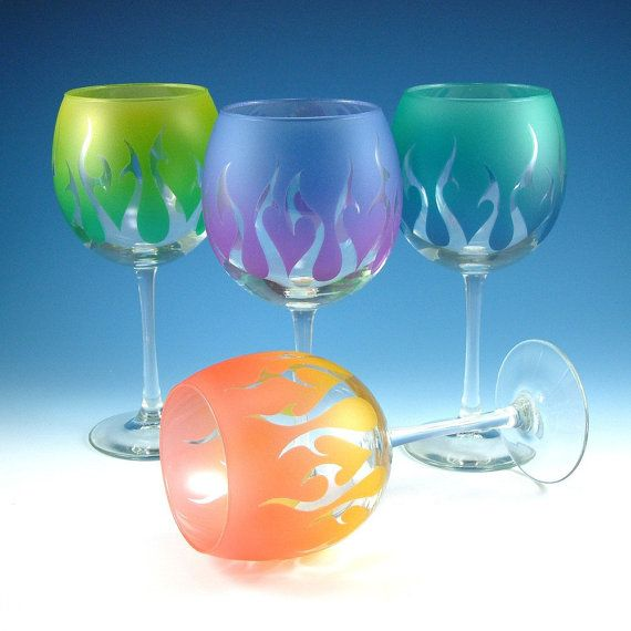 Wine glasses tribal flames set of 4 custom by woodeyeglass for Painting while drinking wine