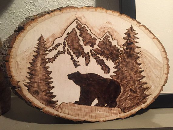 Bear In The Mountains Wood Burn By Emilyeggers On Etsy