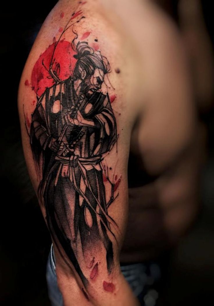 Water Color Samurai Tattoo On Right Sleeve                              …