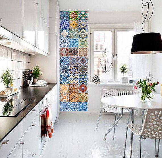 Portugiesische Fliesen Patterns - Fliesenaufkleber – Küche Fliesenaufkleber - Badezimmer Fliesen Aufkleber - SATZ 48 Fliesen
